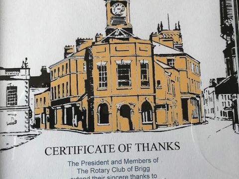 Grateful Thanks to the Rotary Club of Brigg